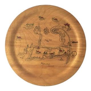Vintage Handpainted Wooden Plate by Artist Fleda Fontneau Cape Cod Nantucket Folk Art For Sale