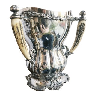 1910 Silver Plated Tug of War Trophy With Deer Antler Handles For Sale