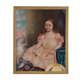 19th Century Oil on Canvas of Girl and Dog For Sale