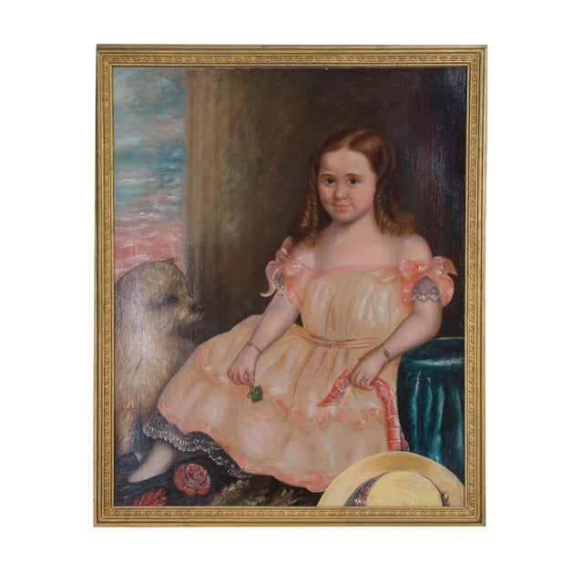 19th Century Oil on Canvas of Girl and Dog - Image 1 of 5