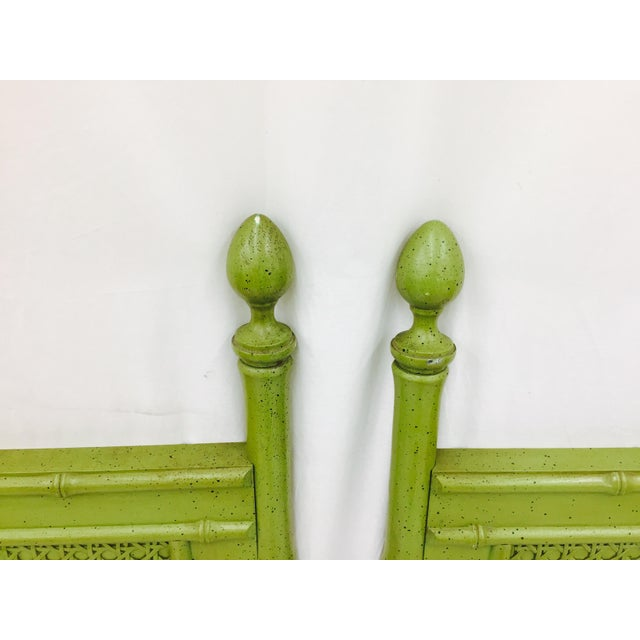Vintage Green Faux Bamboo Twin Beds - a Pair - Image 5 of 9