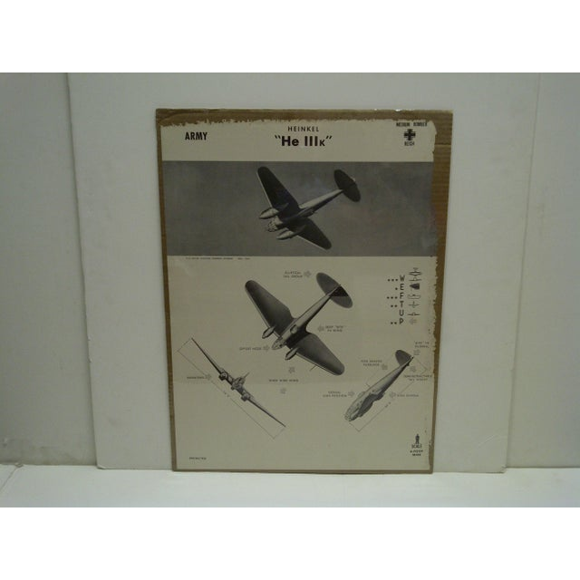 """This is a Vintage -- World War II Aircraft Recognition Poster -- """"Heinkel He 111K"""" -- German -- November 1942 -- The..."""