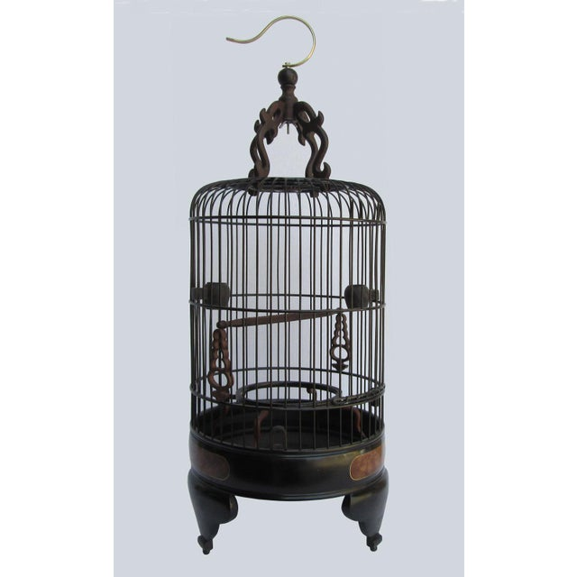 Chinese Handmade Rosewood & Burgh Wood Gold Line Inlay Round Birdcage - Image 2 of 6