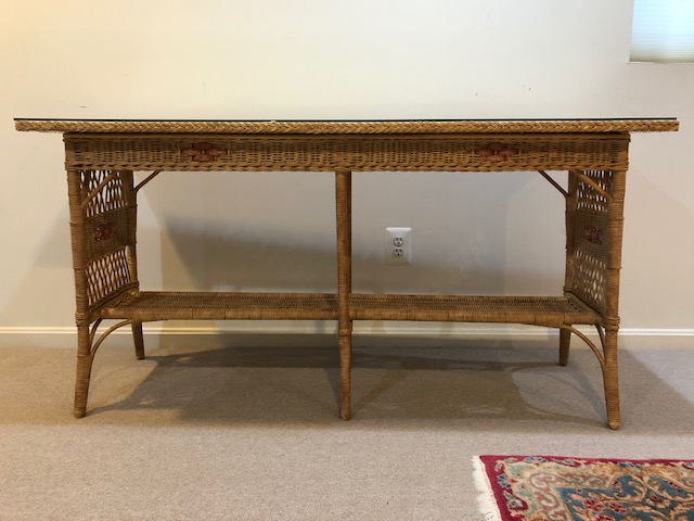 1950s Vintage Wicker Console Table