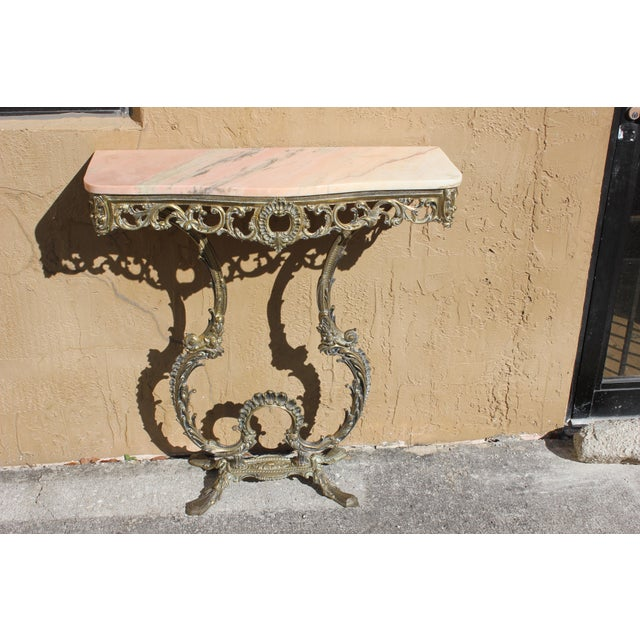 White 1900s French Louis XVI Bronze Console Table For Sale - Image 8 of 13