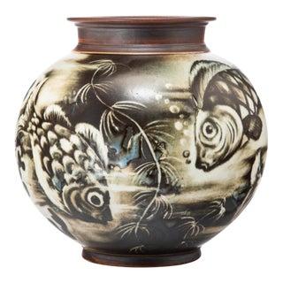1945 Gunnar Nylund Flambé Rorstrand Glazed Porcelain Fish Vase For Sale