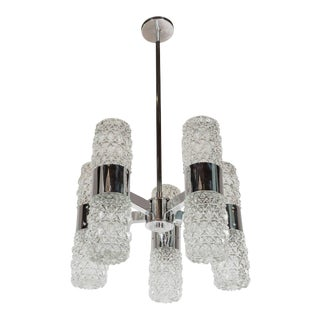 Mid-Century Modernist Chandelier by Kinkeldey in Chrome and Textured Glass For Sale