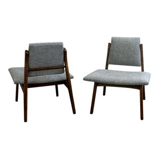 Mid Century Danish Style Maharam Hallingdal Fabric Lounge Chairs- A Pair For Sale