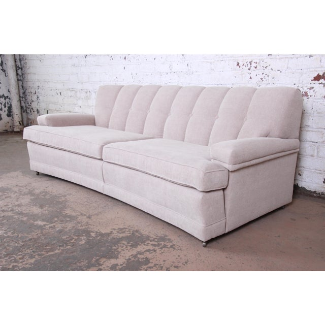 Mid-Century Modern Curved Tufted Sofa, Newly Reupholstered For Sale - Image 12 of 12