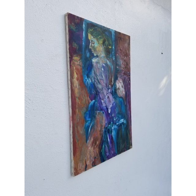 Vintage Mid-Century Modern Figural abstract expressionism Painting signed on the bottom right by listed artist ALEXANDER...