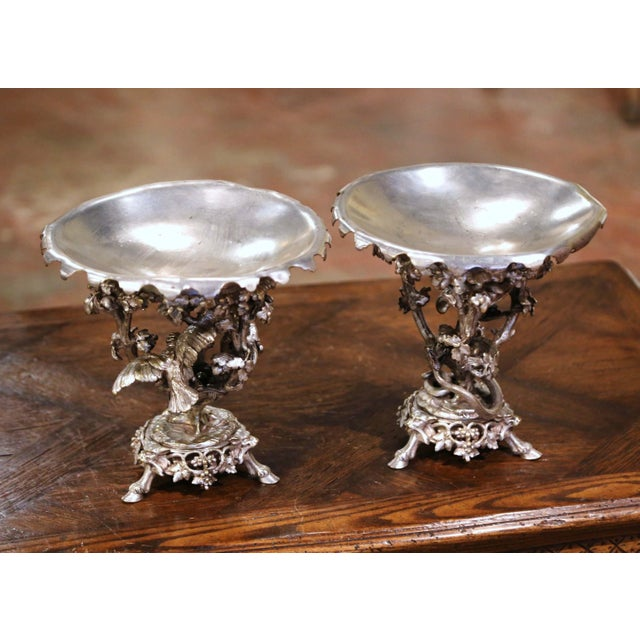 French 19th Century French Silvered Bronze Compotes Signed Christofle - a Pair For Sale - Image 3 of 10