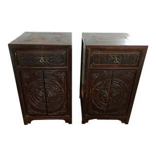 Mid 19th Century Antique Chinese Carved Elm Wood Nightstands - A Pair For Sale
