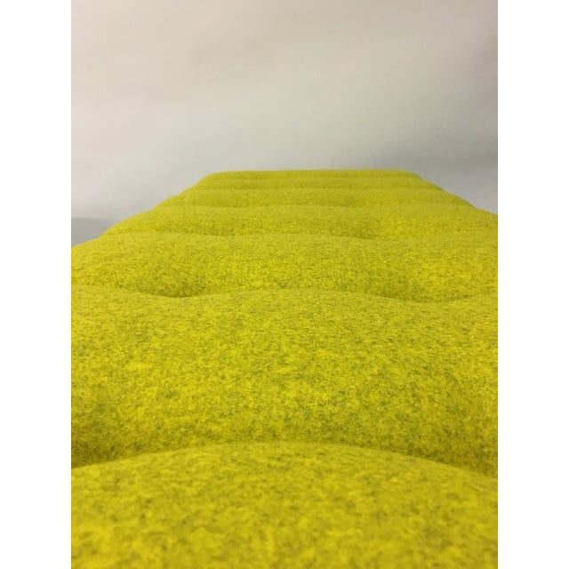 Mid-Century Modern Bright Yellow Tufted Bench on Brass Base For Sale In Chicago - Image 6 of 11
