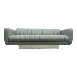 1970s Vintage Space Age Grey Tweed Tuck and Roll Tuxedo Sofa For Sale