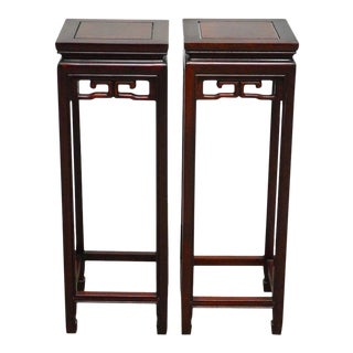 Chinese Rosewood Carved Plant Stand Pedestals - A Pair