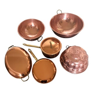 Vintage Copper Cookware Collection - Set of 6 For Sale