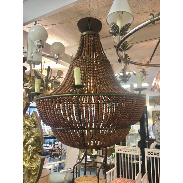 Brown 1960s Mid Century Modern Wood Beaded Chandelier For Sale - Image 8 of 8