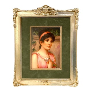 Fine German Painting on Porcelain of a Garden Muse For Sale