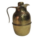 Image of Vintage Brass Coffee Thermos with Handle. For Sale