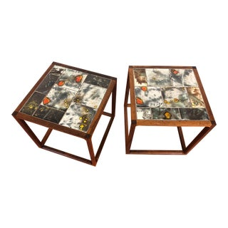 Vintage Rosewood and Tile Top End Tables - a Pair For Sale