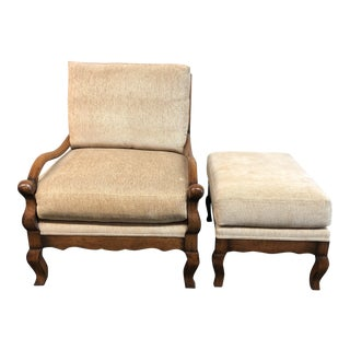 Custom Chenille Arm Chair & Ottoman For Sale