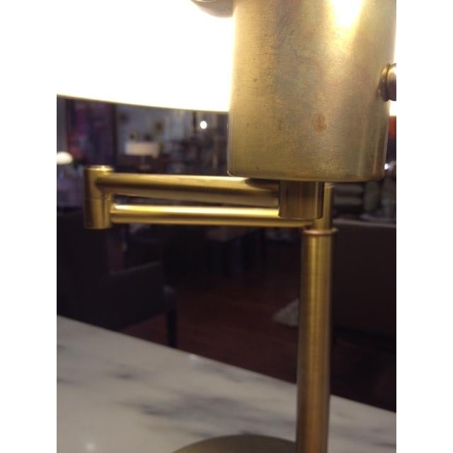 Vintage Brass Swing Arm Desk Lamp with Drum Shade - Image 4 of 7