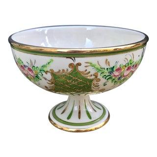 Vintage Italian Hand Painted Porcelain Pedestal Dish For Sale