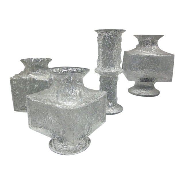 Luxury Five Scandinavian Mid Century Modern Blown Glass Vases By