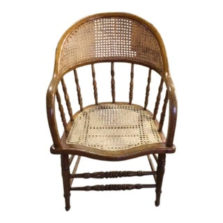 Barrel Back Wood Caned Half Moon Back Arm Chair