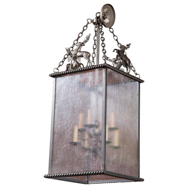 Brown Custom-Made Leaping Stag Lantern For Sale - Image 8 of 8