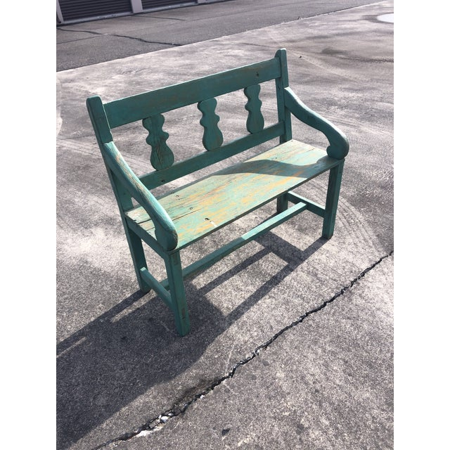 Distressed Turquoise Antique Santa Fe Bench For Sale - Image 13 of 13
