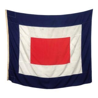 Large Vintage Nautical Signal Flag (4' X 5') For Sale