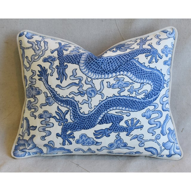 """Italian Chinoiserie Scalamandre Dragon Feather/Down Pillow 18"""" X 15"""" For Sale In Los Angeles - Image 6 of 7"""