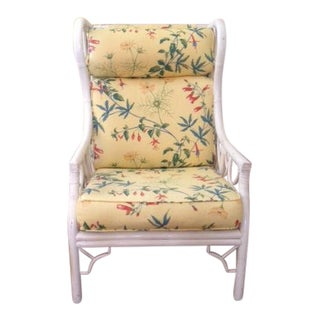 Ficks Reed Chinese Chippendale White Rattan Wing Chair For Sale