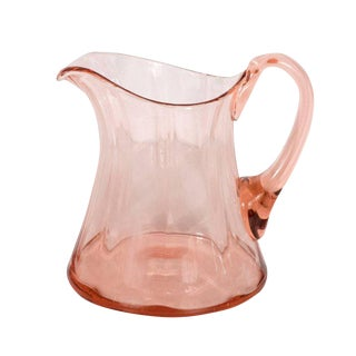 American Art Deco Channeled Rose Colored Pitcher For Sale