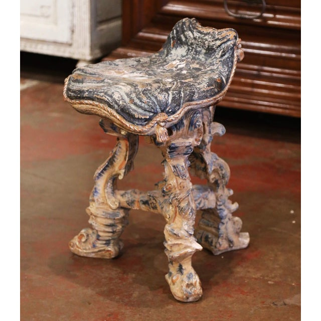 Early 20th Century French Carved Painted and Silver Vanity Chair or Piano Stool For Sale - Image 13 of 13
