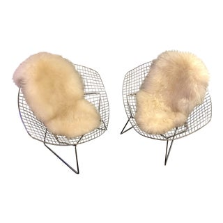 "Reproduction Bertoia ""Diamond"" Chairs W/Sheepskin Covers - a Pair"