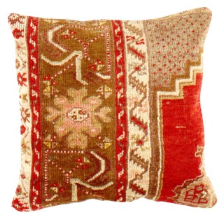 Turkish Vintage Hand Knotted Rug Pillow For Sale