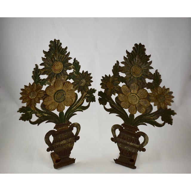 Continental Tôle Peinte Bouquets in Urns - a Pair For Sale - Image 10 of 11
