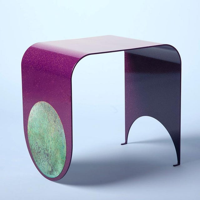 Not Yet Made - Made To Order Contemporary Powdered-Coated Steel With a Brass Patina Inlay Thin Stool For Sale - Image 5 of 5