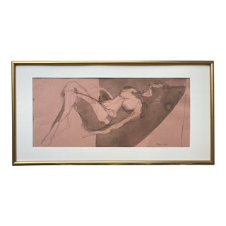 Vintage Modernist Female Nude Ink Watercolor Painting by Gerard Haggerty For Sale