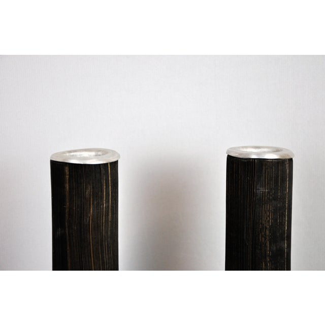 Pair of Reclaimed Craft Paper Designer Minialist Vases Like New For Sale In New York - Image 6 of 13