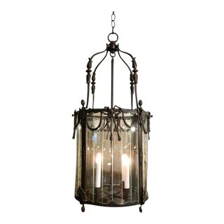 Antique Spanish Colonial Style Bronze Patinated Lantern Chandelier For Sale