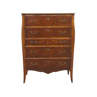 20th Century French Country Berkey & Gay Floral Marquetry Chest For Sale