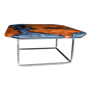 Redwood and Blue Epoxy Coffee Table With Powder Coated Steel Base For Sale