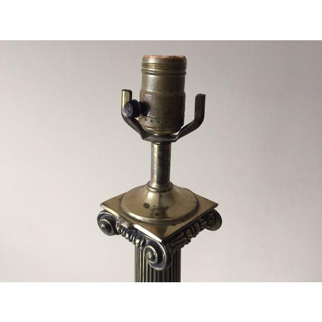 Vintage Portoro Marble & Brass Column Table Lamp - Image 6 of 9