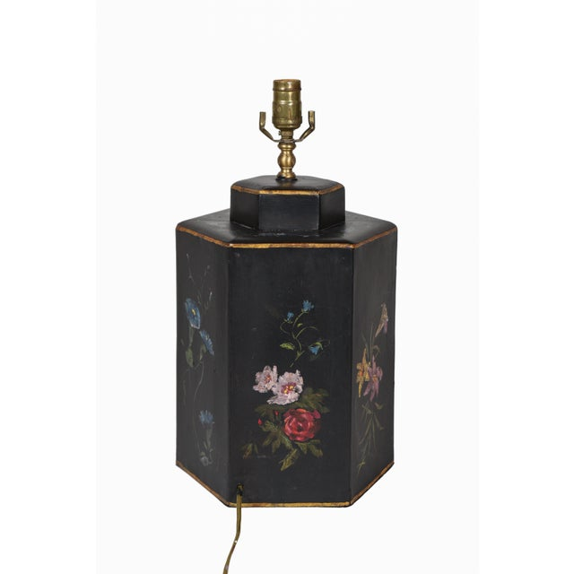 Vintage English Export Floral Style Tea Caddy Lamp For Sale In New York - Image 6 of 8