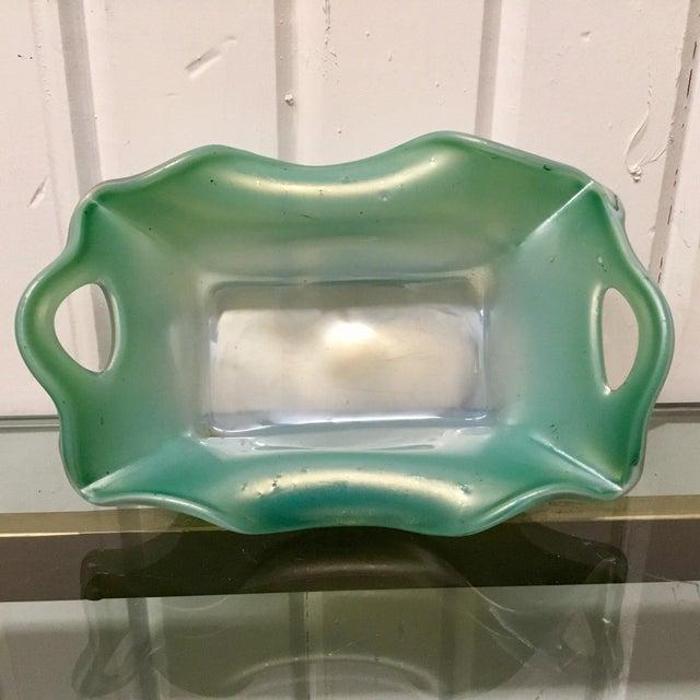 Glass Kralik Blue Iridescent Pierced Art Glass Vase For Sale - Image 7 of 7