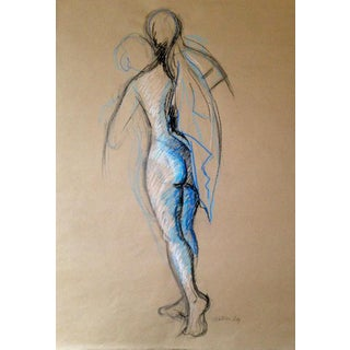 Figure on Kraft With Blue Original Drawing For Sale
