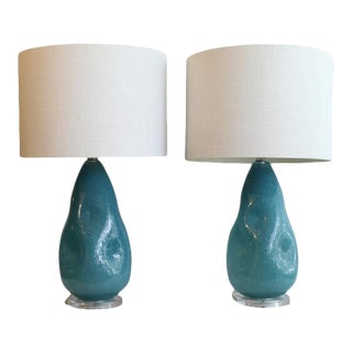 A Pair OF Hand Blown Murano Glass Lamps. For Sale
